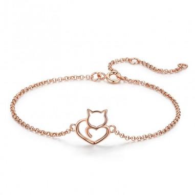 Cat and Heart - Bratara argint rose gold