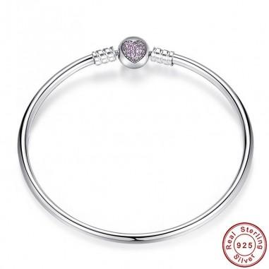 Pink Heart - Bratara talismane argint fixa