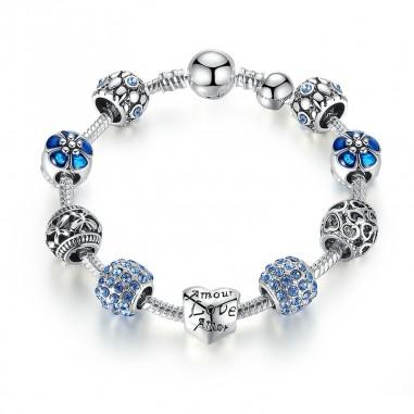Love and Flowers (blue) - Set bratara si talismane