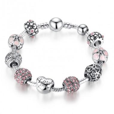 Love and Flowers (pink) - Set bratara si talismane