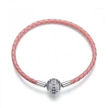Pink Dazzling Ball - Bratara talsimane piele