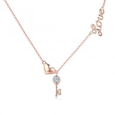 Heart & Key - Colier argint rose gold