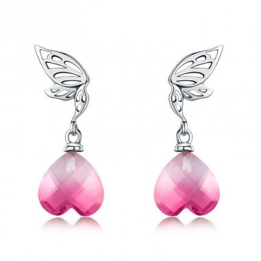Pink Crystal Heart - Cercei argint