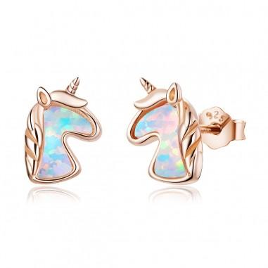 Opal Unicorn - Cercei argint rose gold