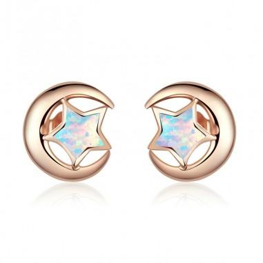 Moon and Star - Cercei argint rose gold