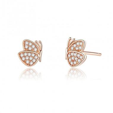 Butterflies in Love - Cercei argint rose gold