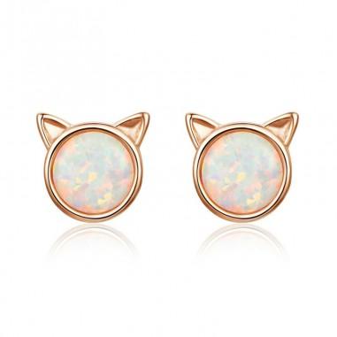 Opal Cat - Cercei argint rose gold