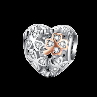 Lucky Clover Heart - Talisman argint