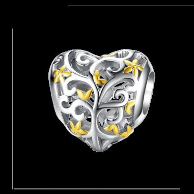 Gold Flowers Heart - Talisman argint