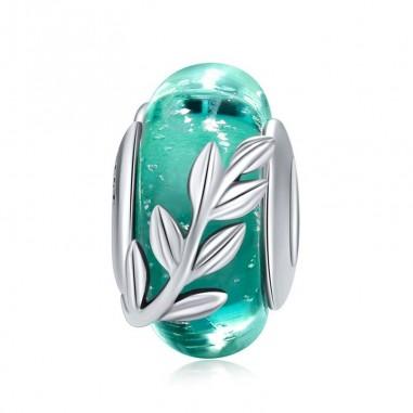 Green Leaf - Talisman argint Murano