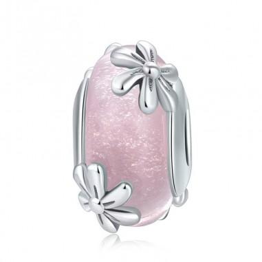 Pink Flowers - Talisman argint Murano