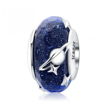 Blue Galaxy - Talisman argint Murano