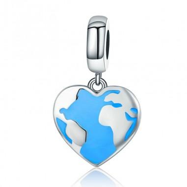 Heart Travel Map - Talisman argint